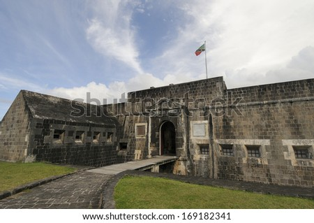 Entrance to Brimstone Hill Fortress in St. Kitts - stock photo