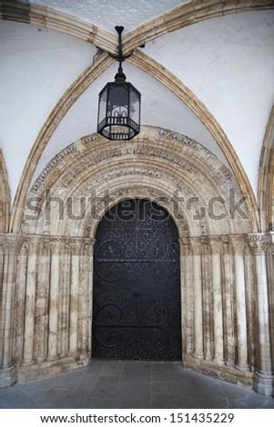 Entrance to Cambridge college - stock photo