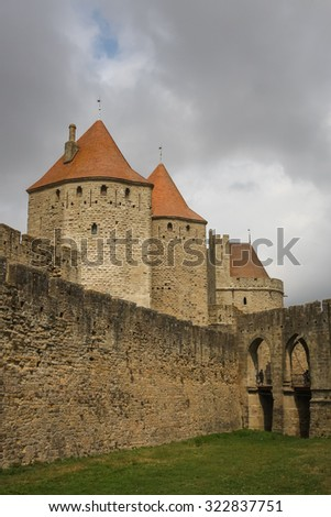 Entrance to Carcassonne fortress, France
