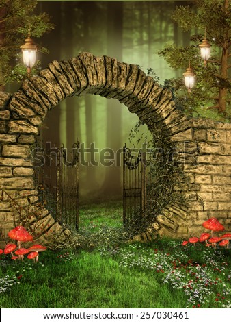 Entrance to enchanted forest with hanging lamps and colorful mushrooms - stock photo