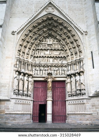 Entrance to gothic cathedral - stock photo