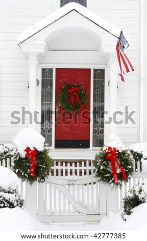 entrance to home with holiday decorations