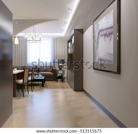 Entrance to kitchen studio. Contemporary kitchen with bar separated from living room by arch, mixed tile and linoleum flooring. 3D render