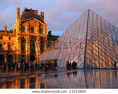 Entrance to Louvre Museum in Paris, France (03) - stock photo