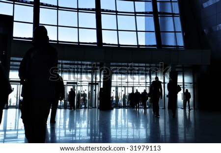 Entrance to modern office building - stock photo