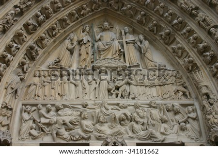 Entrance to Notre Dame Cathedral, Paris