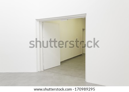 Entrance to office with white bow, construction and architecture - stock photo