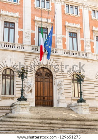 Entrance to Palazzo Montecitorio which houses Chamber of Deputies in Italian Republic government - stock photo