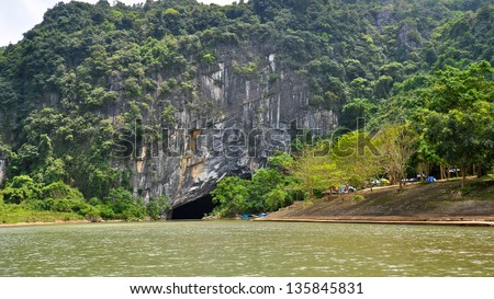 Entrance to Phong Nha Ke Bang Underground River, Caves, Limestone and Karsts Formations (UNESCO World Heritage Site) - Quang Binh, Vietnam