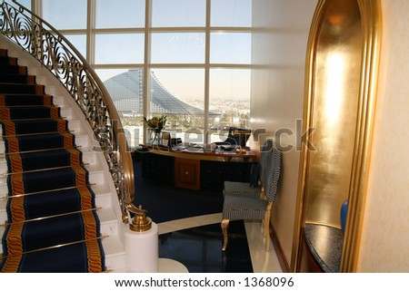 Entrance to room at Burj al Arab, Jumeirah beach hotel in background - stock photo