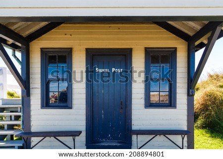 Entrance to Signal Post in old Halifax, Nova Scotia fort - stock photo