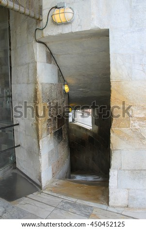 Entrance to spiral downstairs of the Leaning Tower in Pisa, Italy - stock photo
