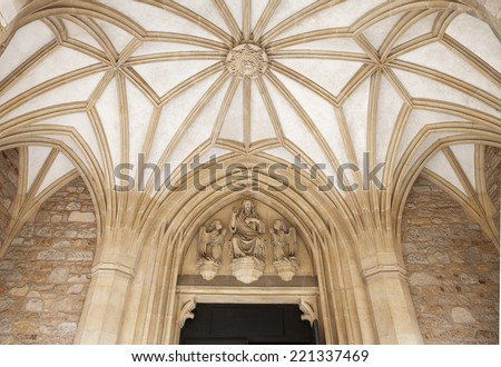 Entrance to St. Peter and Paul Cathedral in Brno, Czech Republic - stock photo
