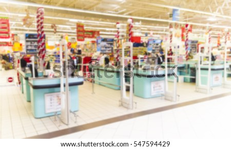 entrance to supermarket, abstract blurred image