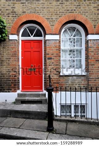 Entrance to 18th century Georgian London house. - stock photo