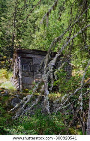 Entrance to the abandoned mines of Saint-Marcel - Aosta Valley - stock photo