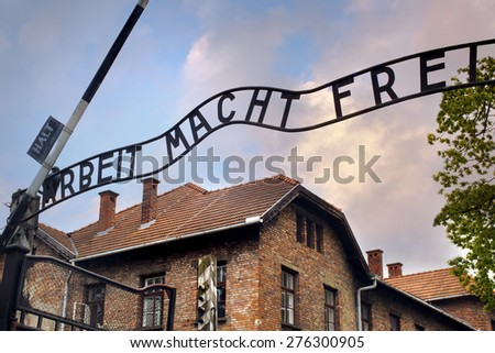 Entrance to the Auschwitz concentration camp - stock photo