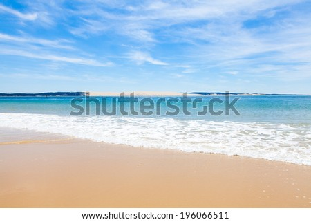 entrance to the basin of Arcachon to Cap Ferret - stock photo