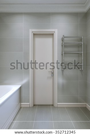 Entrance to the bathroom with white wood door. 3D render