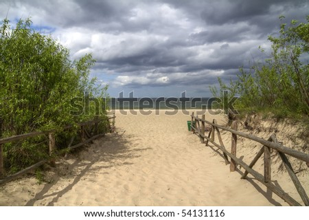 Entrance to the beach in Poland - stock photo