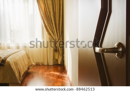 entrance to the bedroom, the view from the door - stock photo