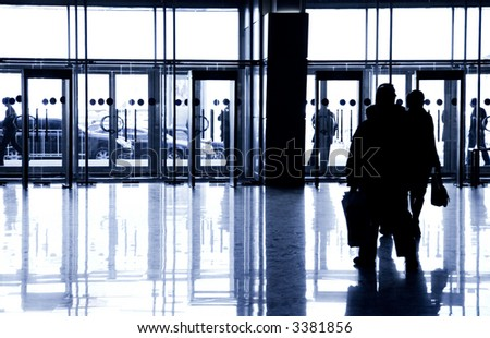 Entrance to the business center. Specially with high contrast. - stock photo