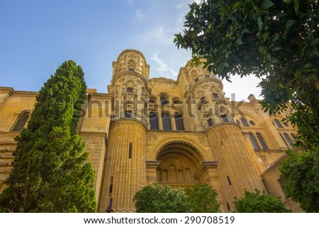 entrance to the Cathedral of the Incarnation in Malaga, Spain - stock photo