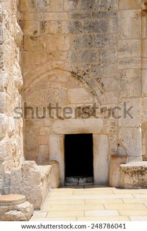 Entrance to the Church of the Nativity, Bethlehem, Palestine - stock photo