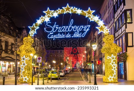 Entrance to the city center of Strasbourg on Christmas time - stock photo