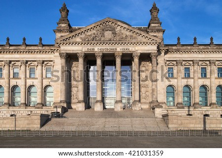 Entrance to the German Parliament, with the inscription Dem Deutschen Volke (The German People), in Berlin, Germany.
