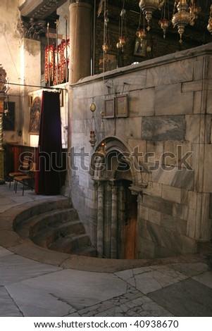 Entrance to the Grotto of the Nativity, Bethlehem - stock photo