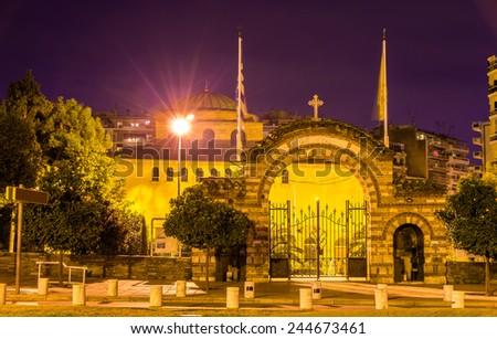 Entrance to the Hagia Sophia church in Thessaloniki, Greece - stock photo