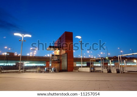 Entrance to the Main Railway Station in Krakow, Poland - night time