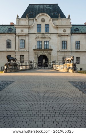 Entrance to the manor house in Humenne, Slovakia - stock photo