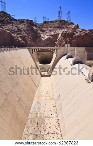 Entrance to the massive spillway tunnel at Hoover Dam