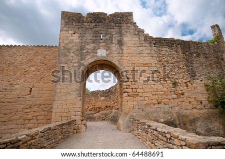 Entrance to the medieval city of Pals, Spain - stock photo