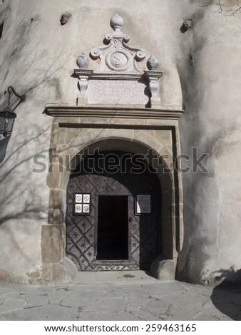 entrance to the old castle Niedzica on the lake Czorsztyn  in Poland - stock photo