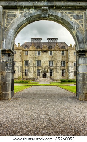 Entrance to the Portumna castle and gardens in Co.Galway - Ireland. - stock photo
