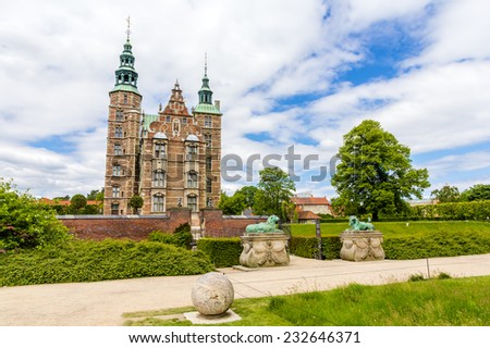 Entrance to the Rosenborg Castle in Copenhagen, Denmark - stock photo