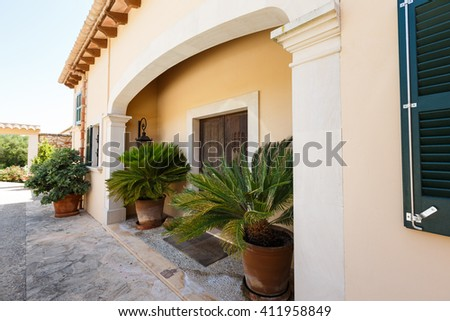 Entrance to the Spanish house nearby the Mediterranean Sea, Mallorca - stock photo