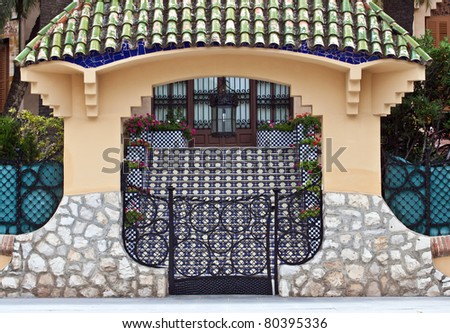 Entrance to the Spanish villa - stock photo