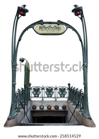 Entrance to the subway, in the style of Art Deco isolated on white. Clipping path included. - stock photo