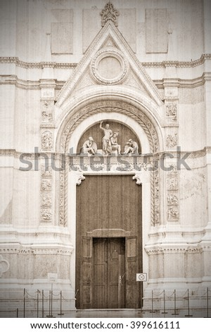 Entrance to the Temple, Bologna, Italy.  Old style. Sepia - stock photo