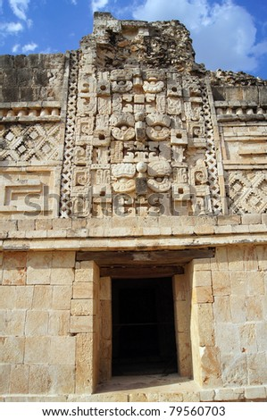 Entrance to the temple in nunnery in Uxmal, Mexico - stock photo