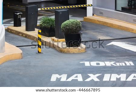 entrance to the underground car park - stock photo