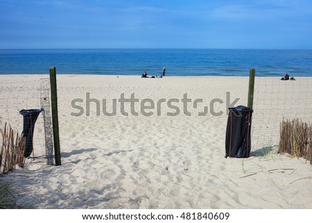 Entrance to the white sand beach in Wladyslawowo, Poland, resort town at Baltic Sea coast