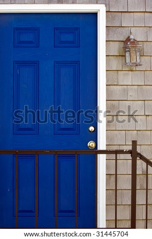 Entrance to typical New England home in Rockport, MA - stock photo