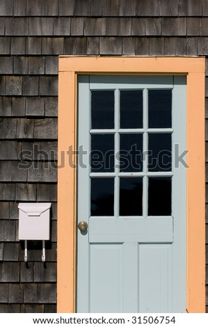Entrance to typical New England home in Rockport, MA