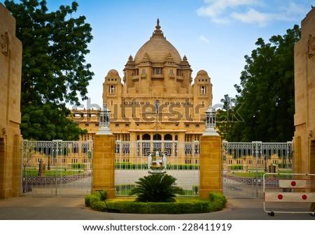 Entrance to Umaid Bhawan Palace in Jodhpur, Rajasthan, India - stock photo