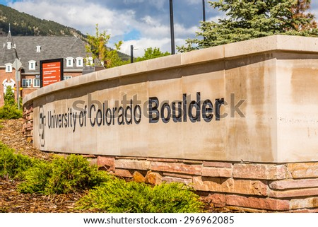 Entrance to University of Colorado Boulder - stock photo